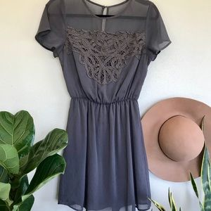 Maurice's Gray Lace Detail Dress